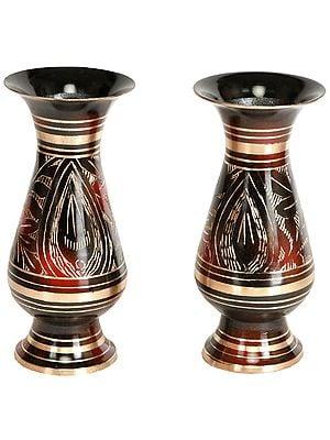 Decorated Vase Pair