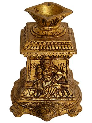 Goddess Lakshmi Four Wick Lamp on Tortoise
