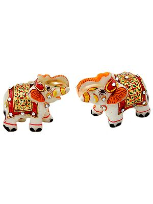 Decorated Elephant Pair with Upraised Trunks (Supremely Auspicious According to Vastu) (Small Statue)