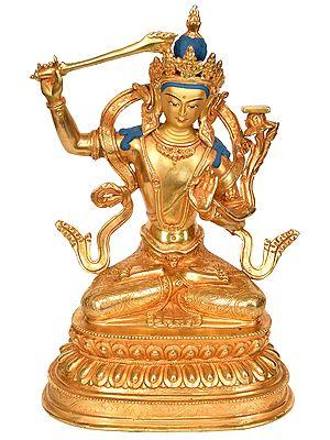 Finely Carved Murti of Manjushri - Bodhisattva of Transcendent Wisdom (Tibetan Buddhist Deity)