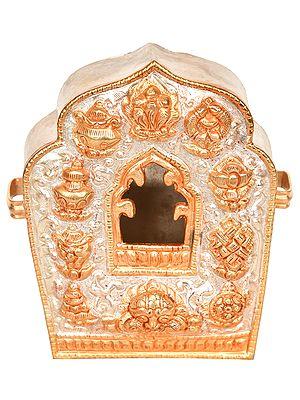 Tibetan Buddhist Gau with Auspicious Symbols (Portable Shrine)
