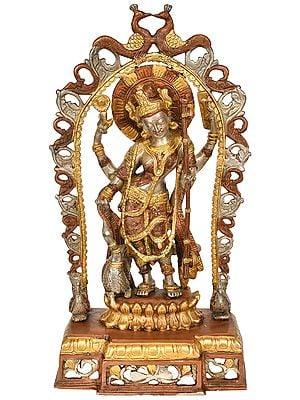 Standing Goddess Saraswati with Peacock