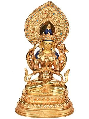 Tibetan Buddhist Deity Chenrezig (Four Armed Avalokiteshvara) - Made in Nepal