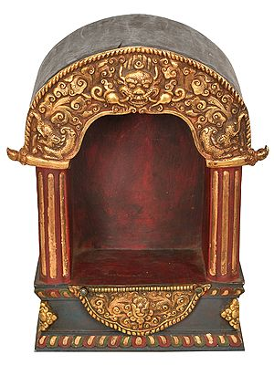 Nepalese Altar with Fine Carving - Tibetan Buddhist