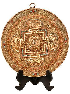Superfine Tibetan Buddhist Vajra Mandala Plate with Filigree Work (Made in Nepal)