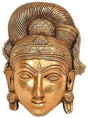 Goddess Parvati Mask with Fine Headdress