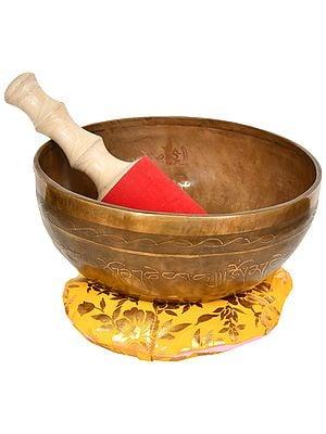 Tibetan Buddhist Singing Bowl Inside The Figure of Buddha in Dharmachakra Mudra