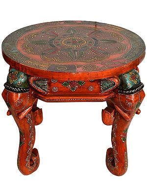 Colorfully Decorated Wooden Table with Elephant Head Legs