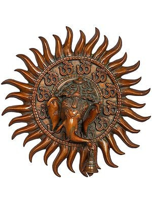 Surya OM Ganesha Wall Hanging Mask with Bell