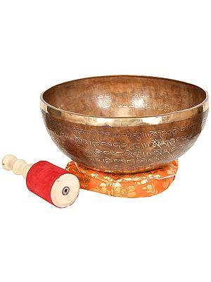 Tibetan Biuddhist Singing Bowl with Syllable Mantra