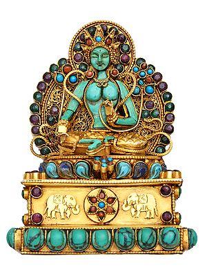 Handcrafted Murti of Goddess Green Tara (Tibetan Buddhist Deity) - Made in Nepal