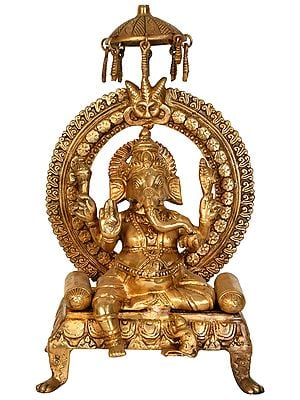 Lord Ganesha Seated on Throne with Parasol