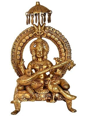 Goddess Saraswati  Seated on Throne with Peacock