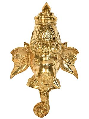 Lord Ganesha Holding Kumbha in Trunk (Wall Hanging Mask)