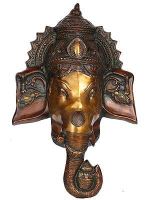 Auspicious Lord Ganesha Wall Hanging Mask (Large Size)