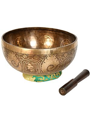 Buddha in Earth Touching with OM MANI PADME HUME Superfine Singing Bowl - Tibetan Buddhist