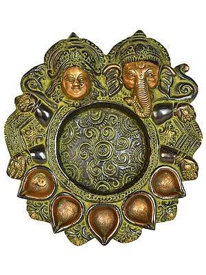 Lakshmi Ganesha Diya Plate