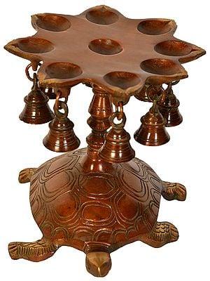 Vastu Tortoise Wick Lamp with Bells