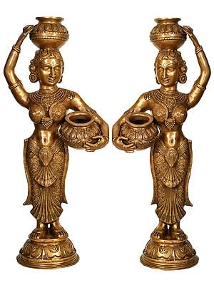 Pair of Large Size Krishna's Gopis (Milk Maidens)