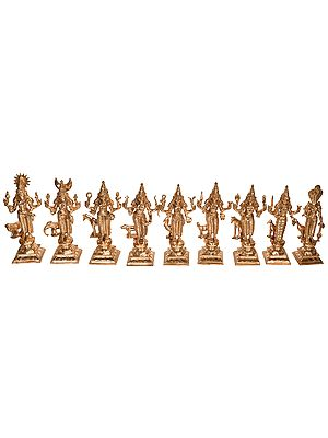 Navagrahas : Nine Planetary Gods (From the Left are:  1. surya, 2. Moon, 3. Sukra , 4. Budh, 5.Sani,   6.Mangal, 7.Sukra ,  8. ketu and 9, Rahu)