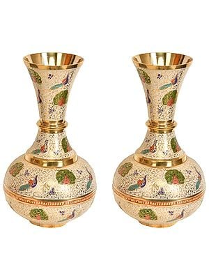 Peacock Flower Vase Pair