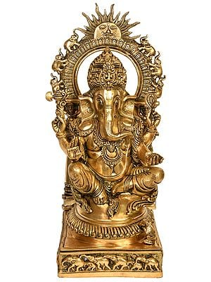 Lord Ganesha with Surya and Marching Elephants Aureole