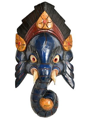 Wrathful Ganesha Wall Hanging Mask from Nepal