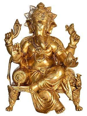 Lord Ganesha Seated on Chowki
