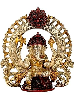 Seated Ganesha, Within A Kirtimukha Prabhavali