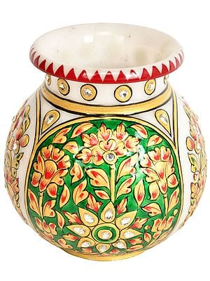 Decorated Marble Kalash (Pot)