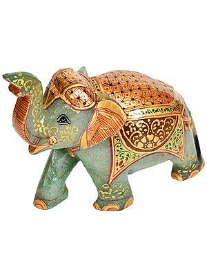 Decorated Elephant with Upraised Trunk - For Vastu (Carved in Jade Gemstone)