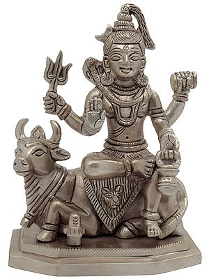 Lord Shiva Seated on Nandi With Shiva Linga