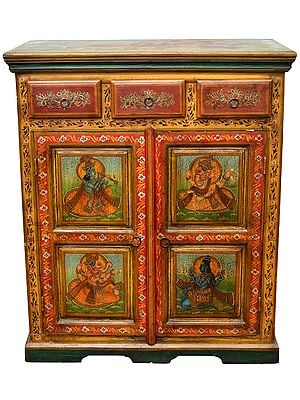 Large Size Cupboard with the Figures of Lord Ganesha, Krishna and Lord Shiva