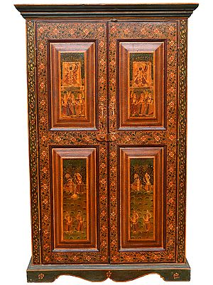 Wooden Cupboard Decorated with the Figures of Shrinathji, Krishna Lila and and Gopiyan (Large Size)