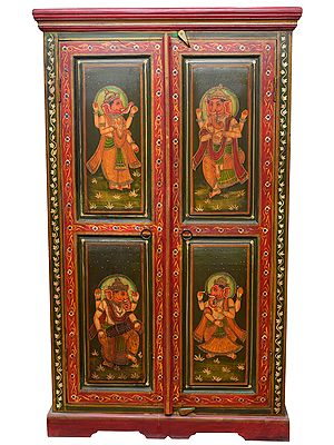 Musician and Dancing Ganesha Temple Cupboard (Large Size)