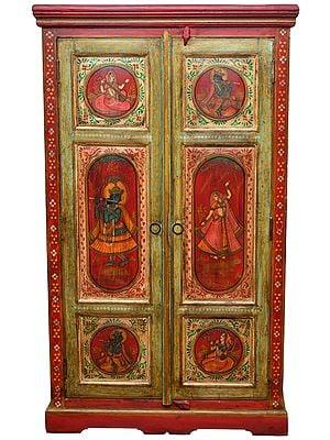 Musical Radha Krishna Wooden Almirah (Large Size)