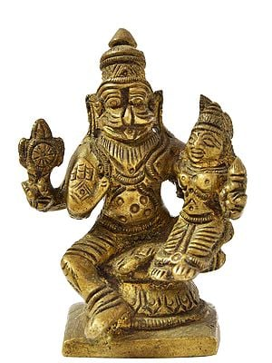 Lord Narasimha with Goddess Lakshmi (Small Statue)