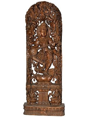 Large Size Dancing Goddess Saraswati with Lakshmi Ganesha on Base