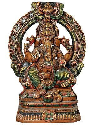 Seated Lord Ganesha with Kirtimukha (Large Size)