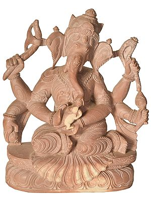Lord Ganesha Caressing His Mouse