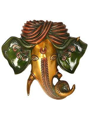 Turbaned Ganesha Wall Hanging Mask