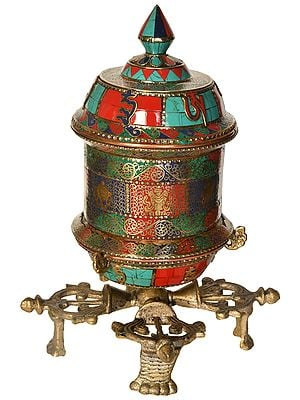 Tibetan Buddhist Prayer Wheel on Vishva-Vajra Stand (Made in Nepal)