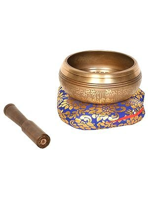 Tibetan Buddhist Singing Bowl with Image of Buddha in Earth Touching Gesture (Made in Nepal)