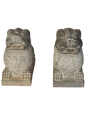 South Indian Temple Protector Lion Pair