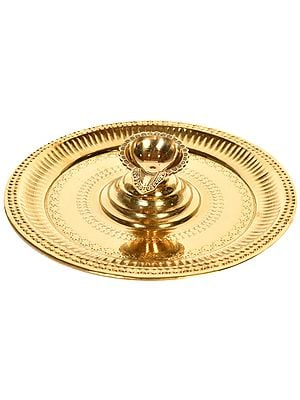 Puja Thali with Attached Wick Lamp