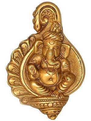 Ganesha in Conch Wall Hanging (Flat Statue)