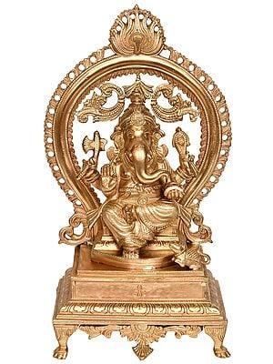 Lord Ganesha Seated on Chowki with Aureole