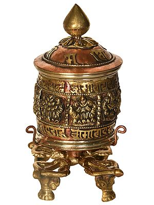 Tibetan Buddhist Ashtamangala Prayer Wheel