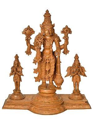 Lord Vishnu with Garuda and Hanuman