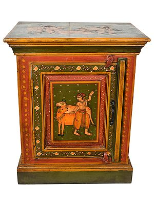 Decorated Chest with the Image of Cows and Cowherds